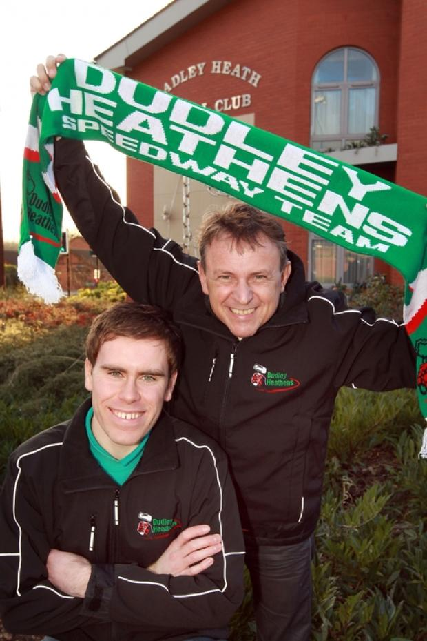 Jan O Pedersen (right) with Heathens manager Will Pottinger