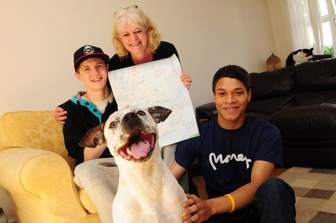20-year-old Eddie Tymoshyshyn with mum Jo Tymoshyshyn, friend Zach Ogunyemi, aged 20, and dog Charlie. Pic courtesy of Somerset Standard.