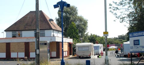 Travellers at the disused Little Chef in Hagley
