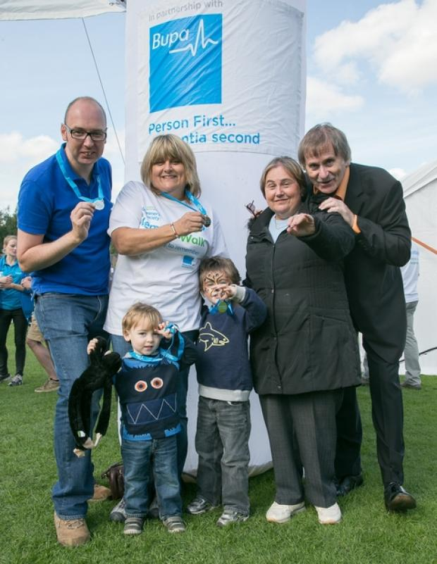 Stephen, Leesa and Jules and Malachi Clarke, Lisa's mother Patricia Harpin who has dementia and father, Peter, who performed at the event.