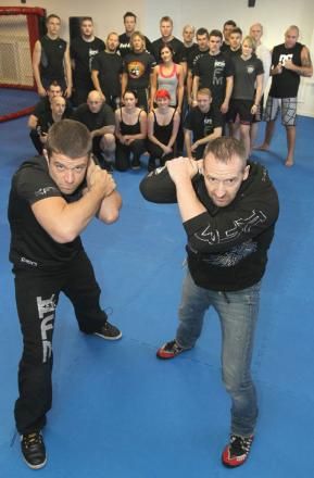 L-R - Ryan Norwood (Fury Fight School) and stuntman Andy Norman. Buy photo: 401221J