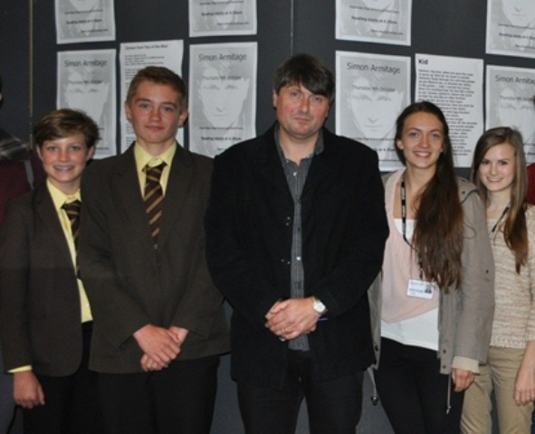Poet Simon Armitage with Year 10 and Year 12 Students at Haybridge High School, Hagley, for National Poetry Day 2012