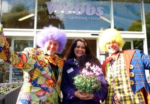 Linda Carless-James from Webbs, West Hagley, with colleagues Adam Ellis and Tom Oliver getting into the circus mood.