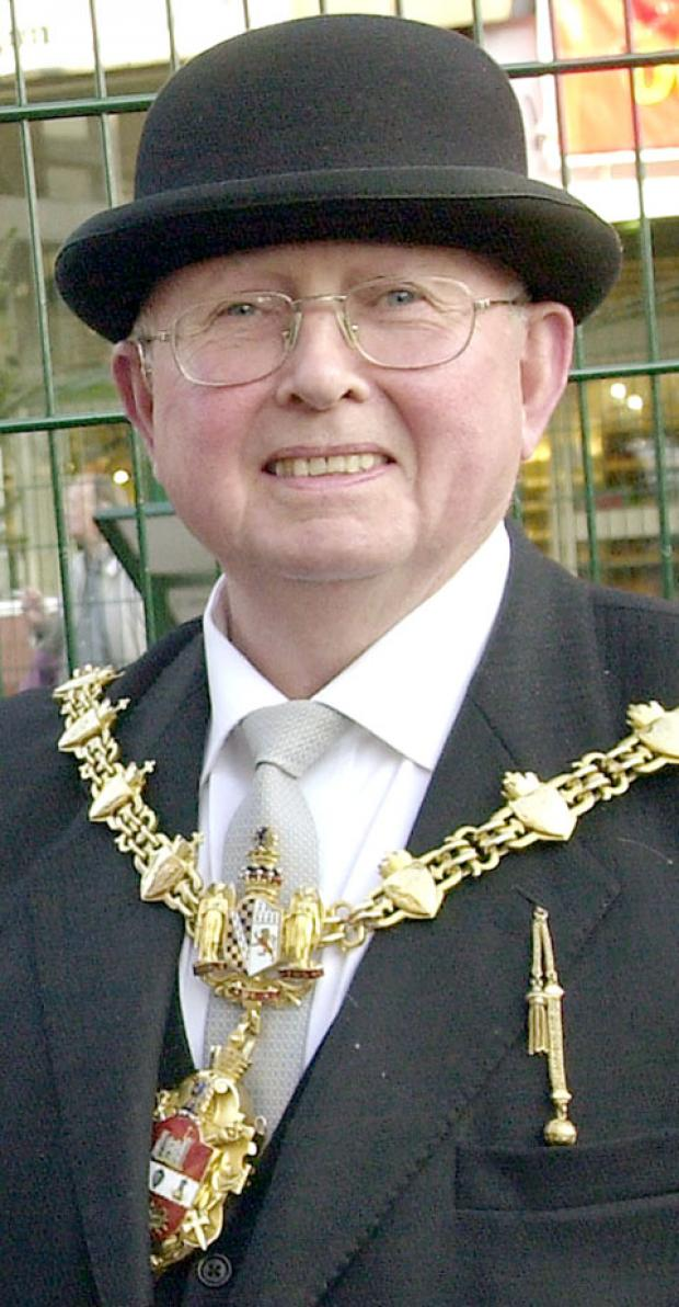 Former Mayor of Dudley - cllr Malcolm Knowles - in his trademark bowler hat.