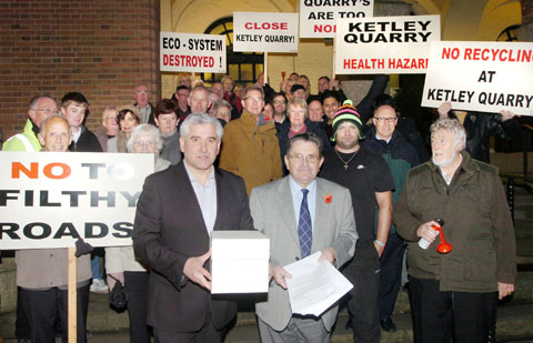 Cllrs David Blood and Patrick Harley with quarry protestors at Dudley Cou