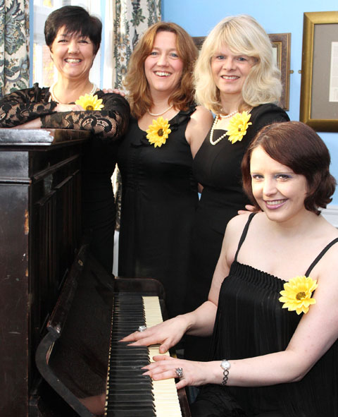 L TO R, Calendar Girls Maria Lodge, Liz Sparke, Kaye Senior, and Karen Whittingham at the Talbot Hotel in Stourbridge