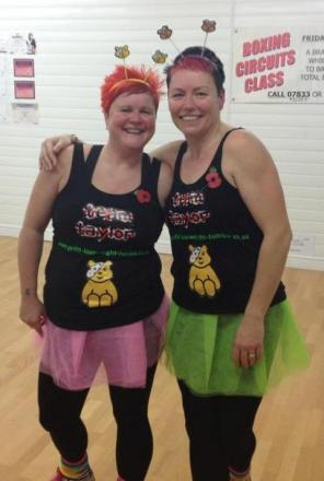 Nicola Taylor and Amanda Taylor at the Children in Need 80s themed Zumba event.