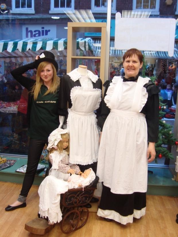 Victorian fare: Acorns' Worcester store manager Karen Davis and volunteer Marie Kirby.