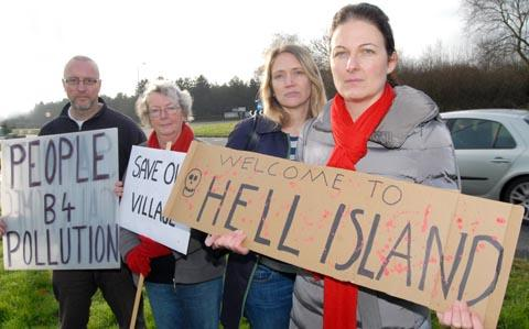 l-r Peter Rowbottom, Joy Corbett, Rachel Jenkins, Fran Evans from Hagley Residents Action Group say their village has been abandonded to developers