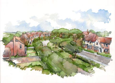 A new artist's impression of the planned CALA Homes development in Hagley