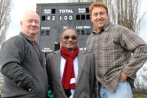 l-r Peter Griffiths (Stourbridge Cricket Club member), Harilal Patel (Chairman) and Dave Banks (senior Coach)