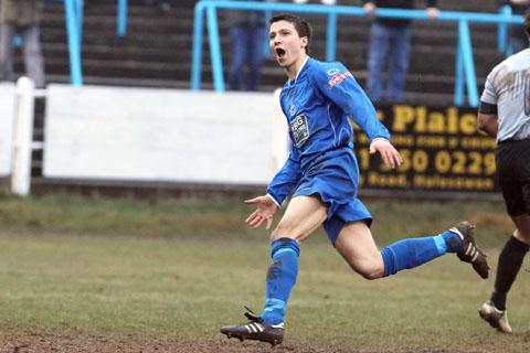 Ben Haseley celebrates his second goal against Gresley