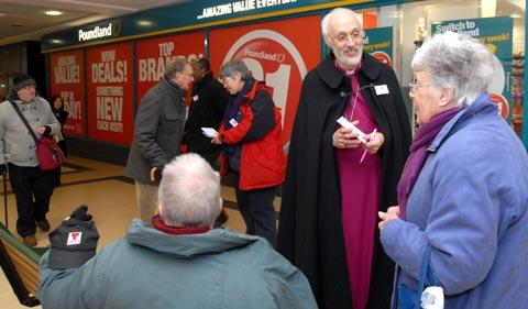 Bishop David Walker collecting prayers in Stourbridge