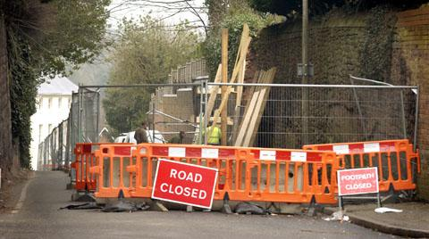 Red Hill still closed - two months after the landslide. Buy photo: 081332L