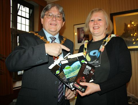 Mayor oThe Mayor of Dudley, Councillor Melvyn Mottram, with Michaela Vallance from Stourbridge Fairtrade.