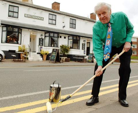 Ted Etheridge is threatening to paint out double yellow lines outside his Wollaston pub