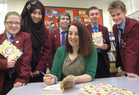 Author Cathy Cassidy with pupils Teri Temple, Taalia Mehmood, Josh Fennell, Callum Clift and Andrew Stokes. Buy photo: 111337L