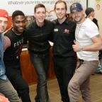 Shayne Ward, Oliver Phelps and The Risk's Charlie and Derry with Virgin shop manager Joseph Richards