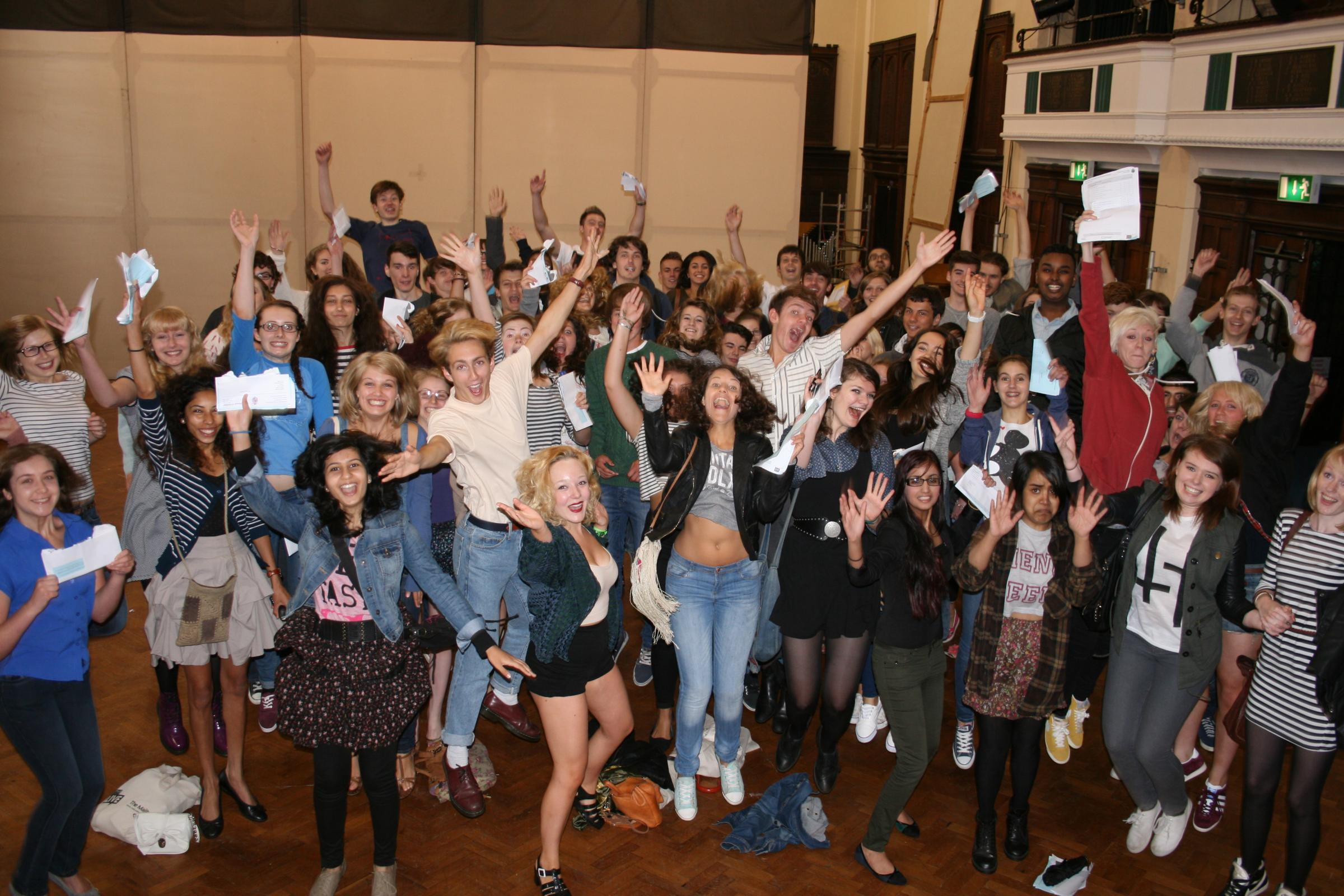 Students at King Edward's jump for joy after gaining top A levels