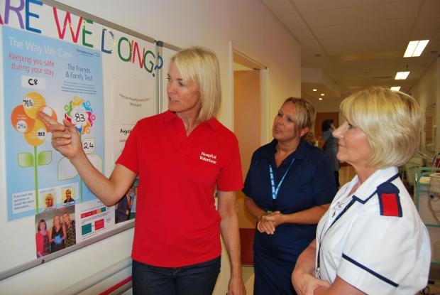 Margot James MP with director of nursing Denise McMahon (right) and S