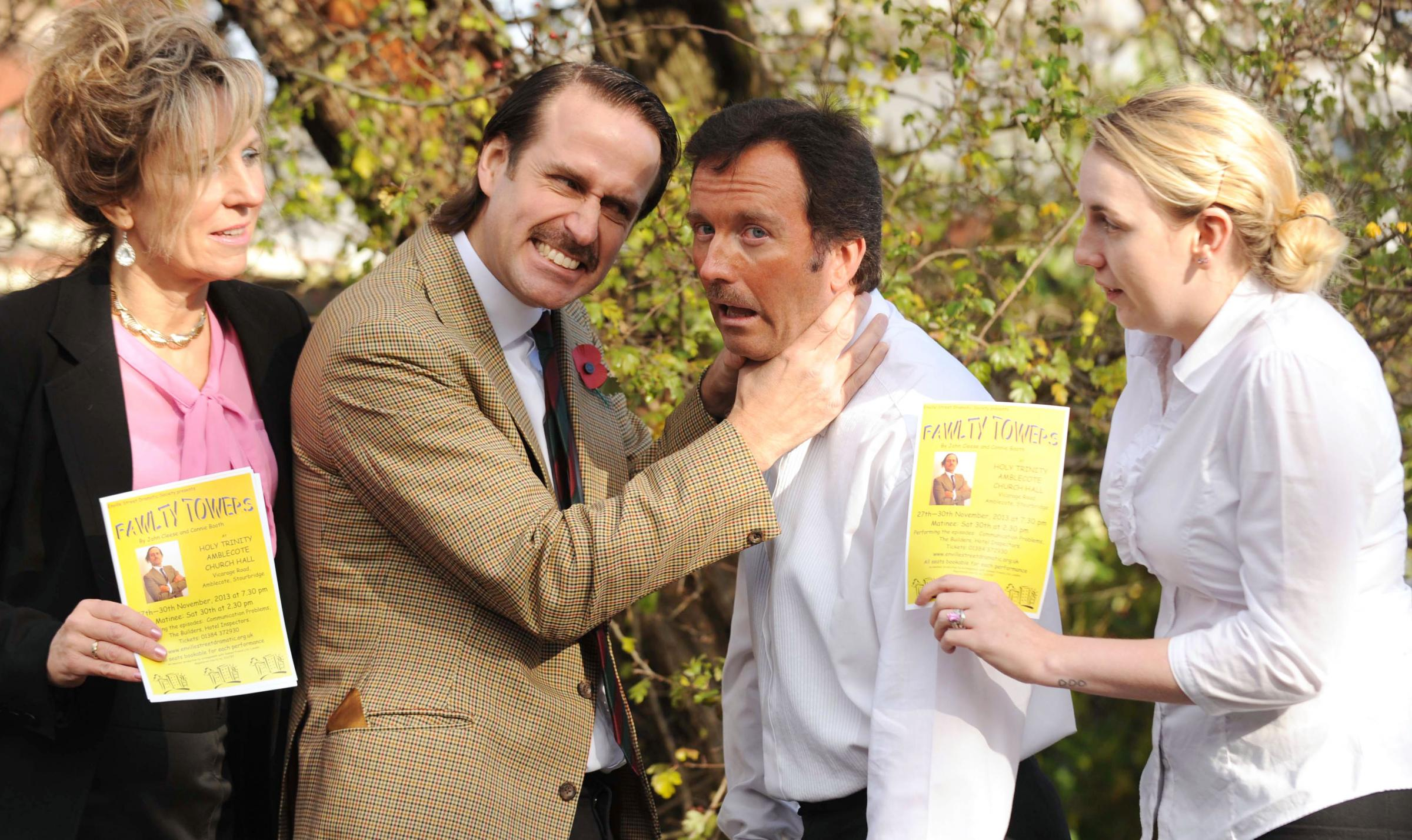 L-R Sandra Harrold as Sybil Fawlty, Simon Cooper as Basil Fawlty, Lee Morgan-Salcombe as Spanish waiter Manuel and Charlotte Picken as Polly. Buy photo: 461312ET