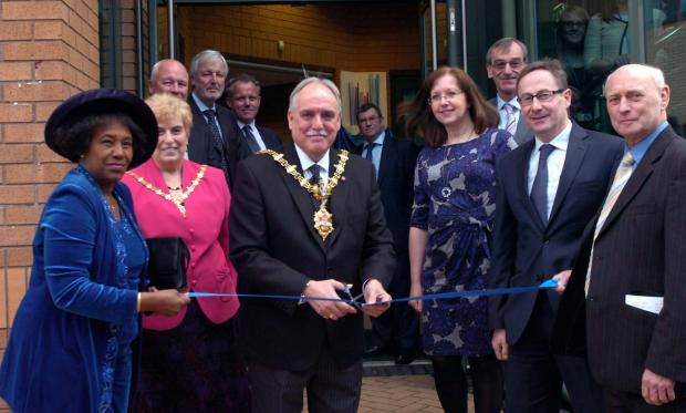 Mayor of Dudley, cllr Alan Finch opened the new base on Thursday with l-r  Mrs Rebirtha Hart, Heather Finch, Chief Exec  Jeremy Wood, Roger Hancox