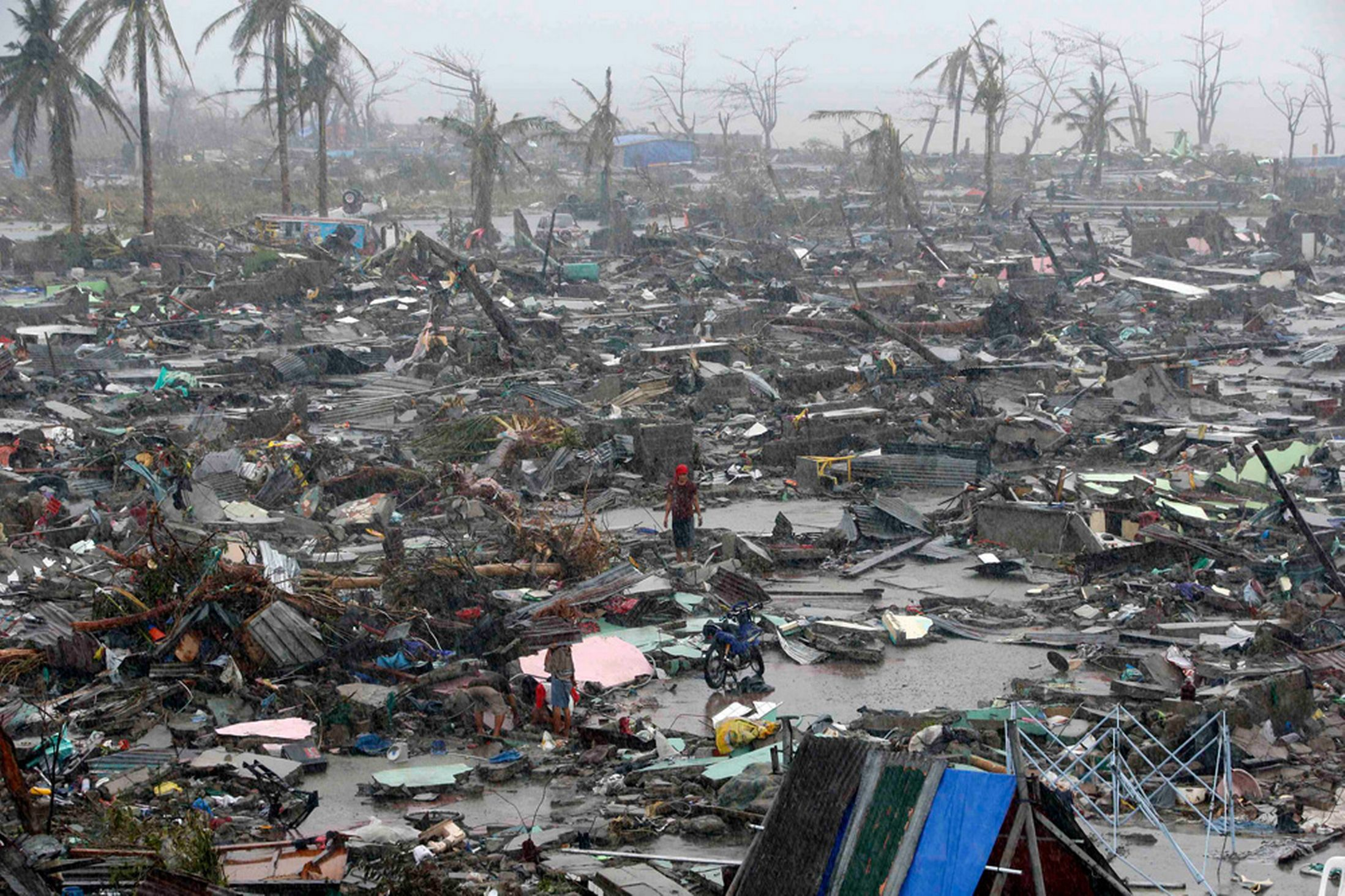 The aftermath of Typhoon Haiyan whch devastated the Philippines