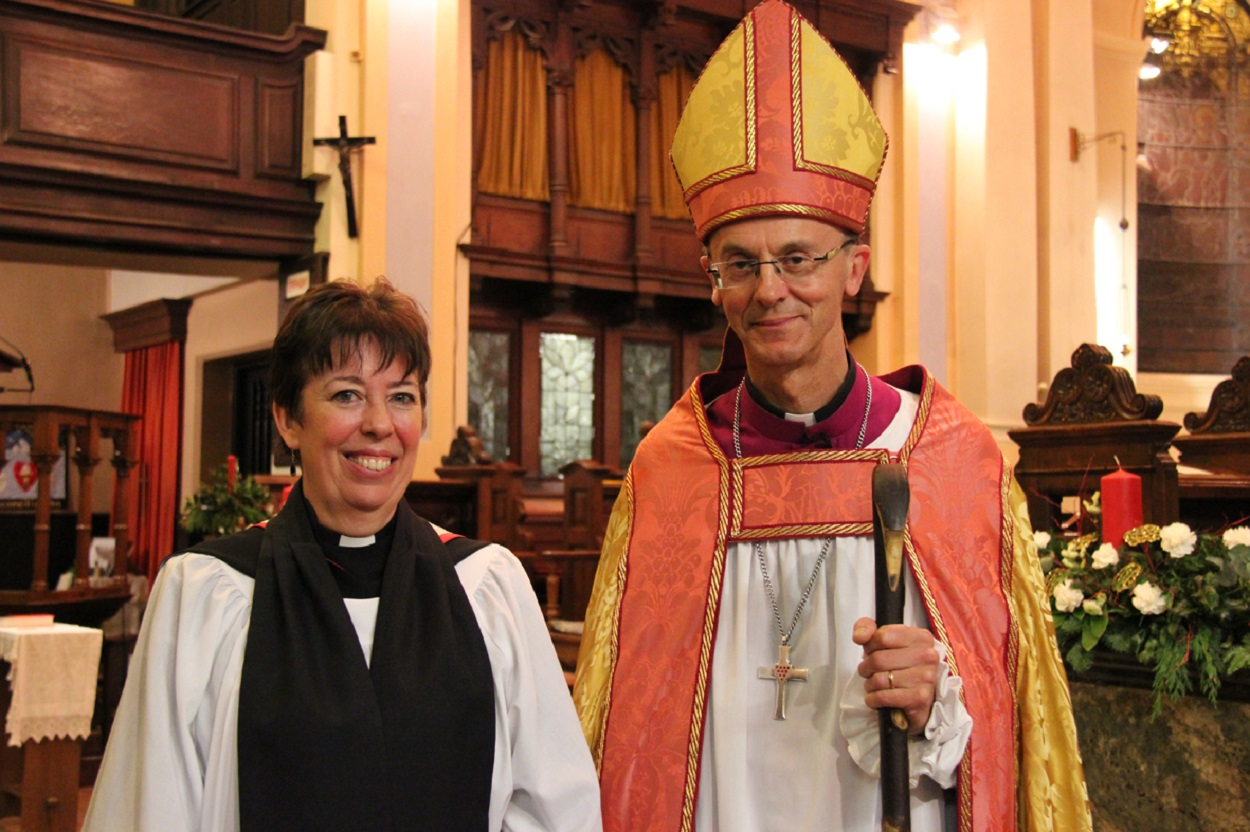 Revd Nikki Groarke and Dr John Inge, Bishop of Worcester, at  the ceremony to officially licence her as the new archdeacon of Dudley