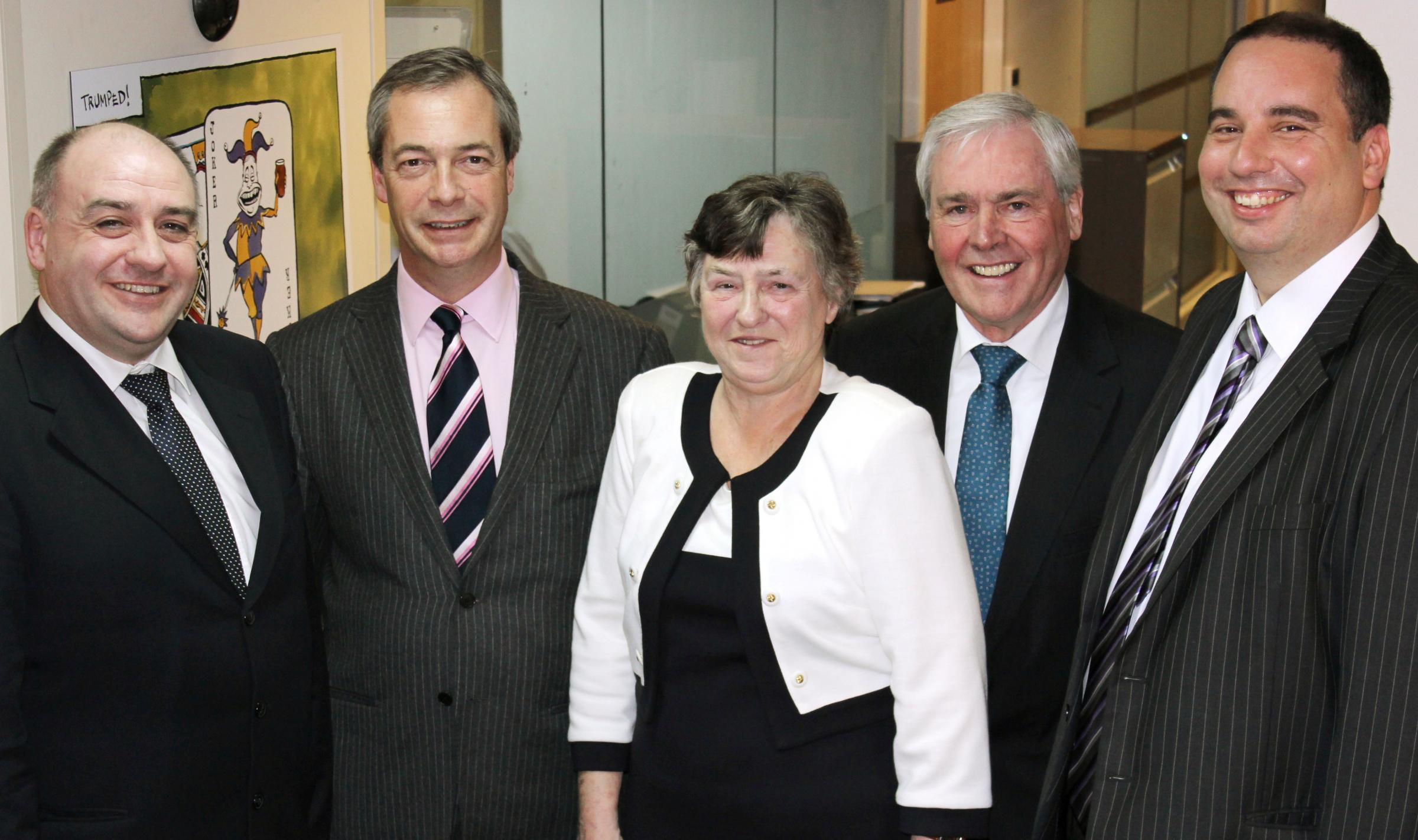 Adrian, Hazel and Ken Turner with Nigel Farage, second left, and Bill Etheridge, right.