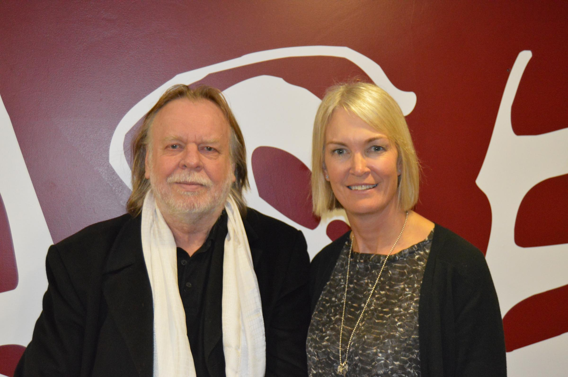 Rick Wakeman  and Margot James at Base Studios. Photograph courtesy of Liam White.
