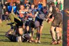 Matt Humphries goes on thecharge during DK's hefty 72-0 reverse at Luctonians - picture by Ian Jackson