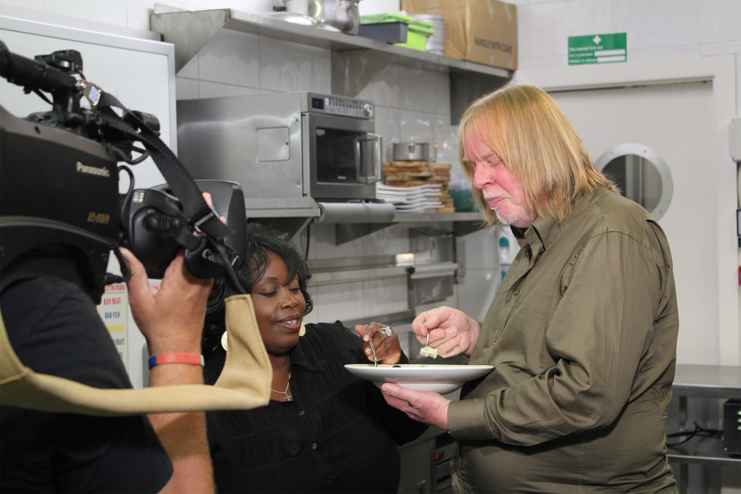 Ruby Turner and Rick Wakeman filming Soundbites.