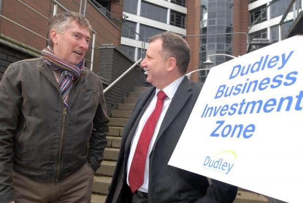L-r Waterfront property owner Stephen Fitzgerald and Cllr Pete Lowe discuss the new Dudley Business Investment Zone. Buy photo: 061427M.