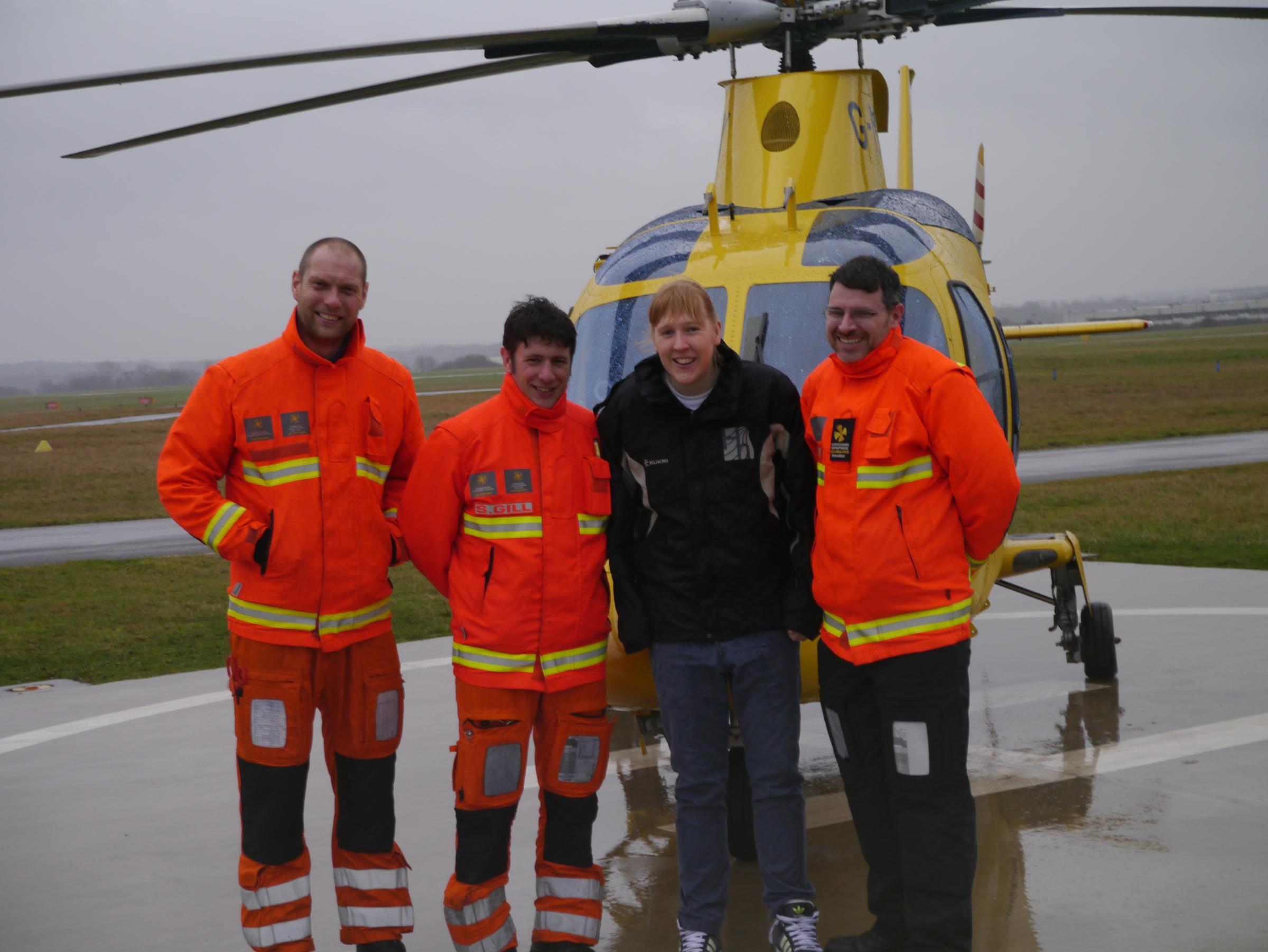 From l-r: pilot Joe Moore, doctor Stuart Gill, Lucy Dawkins and paramedic Paul Mullins.