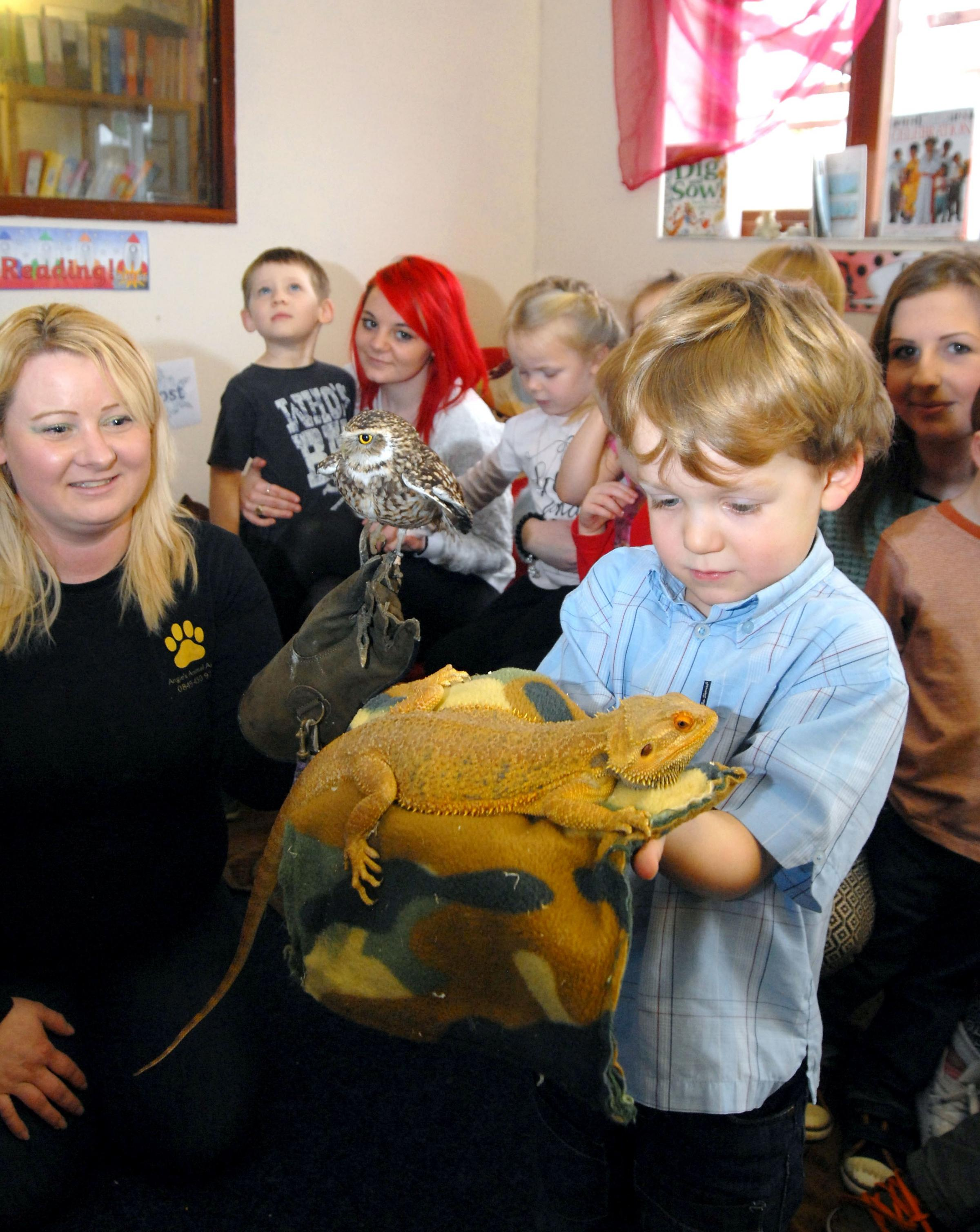 Angie Blake, Bizet the owl, Taz the dragon lizard and Matthew Yeomans, aged three. Buy this photo: 071428M.