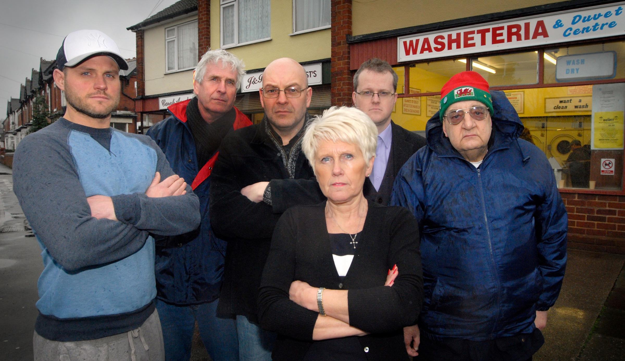Angry traders - Jason Hampton (J&R Gents Stylists), Richard Dowen (Washeteria & Duvet Centre), Graham Lench (GLC Video), Carol-Ann Perks (Carol Anns Hair Studio), Stuart Millward (House of Magic UK), John Stephens (Stephens Carpet Warehouse). Pic: 071432L