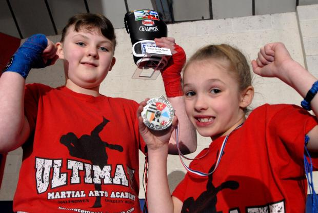 Action heroes: Amy Cook (ten), left, and Lylla Tether (eight).