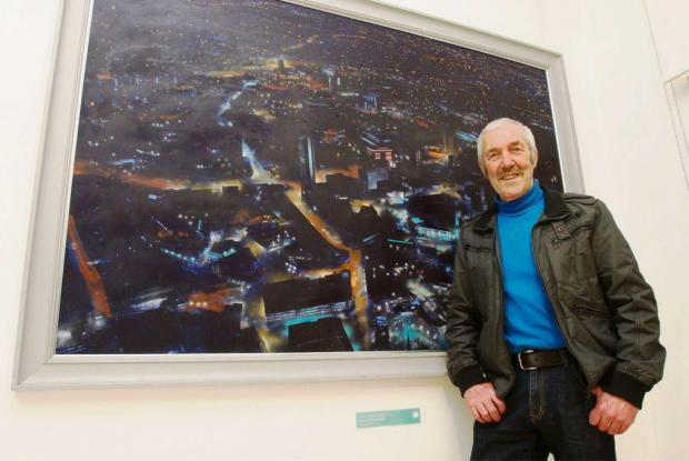 Artist Robert Perry with his prize-winning cityscape