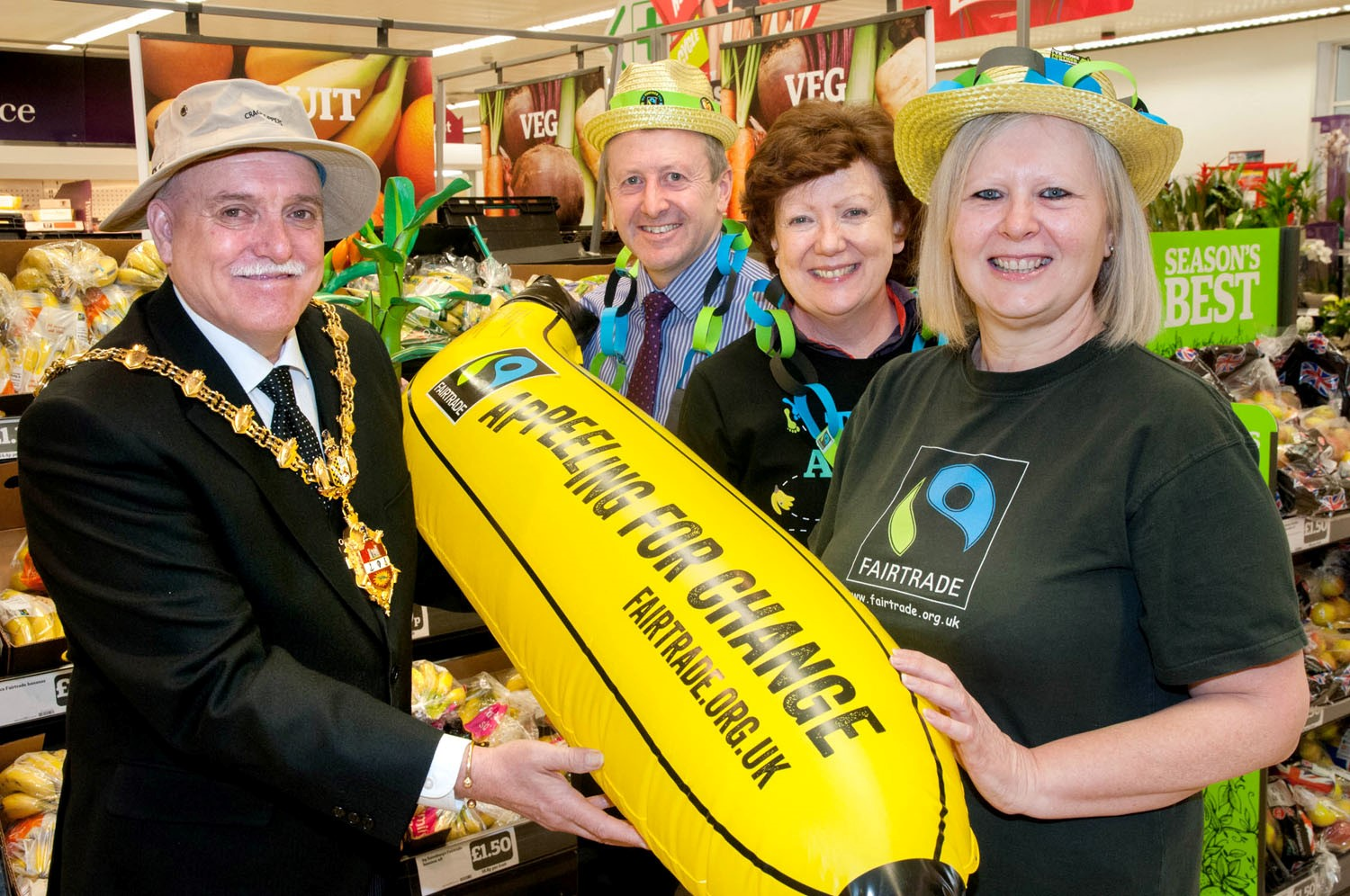 L-r - Mayor of Dudley - Councillor Alan Finch, Sainsburys manager Kevin Healy, Julie Bate and Michaela Vallance of Stourbridge Fairtrade. Buy photo: 091403MH