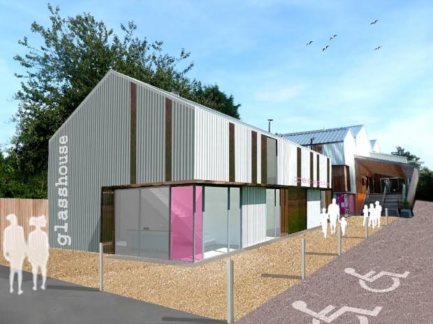 Artist's impression of the new visitor reception area at the Ruskin Glass Centre site.