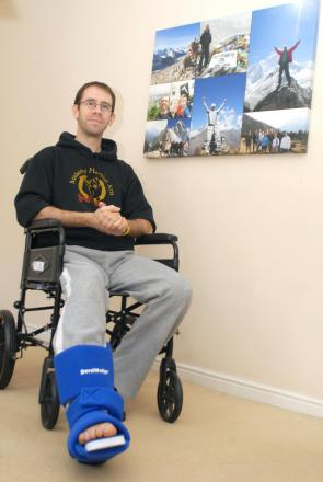 Martial arts instructor Dan Woodruff - recovering after a serious leg injury. Buy photo: 101403M