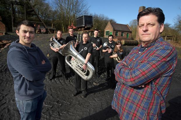 Actors Luke Adamson and Andrew Dunn along with the Jackfield Elcock Reisen Brass Band at the Black Country Living Museum