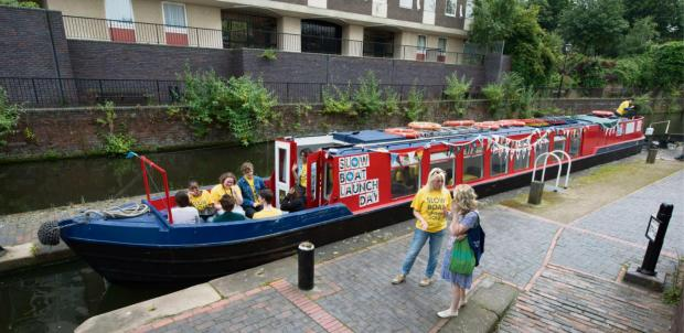 The converted narrow boat  Aaron Manby which will be bringing art into the Black Country.