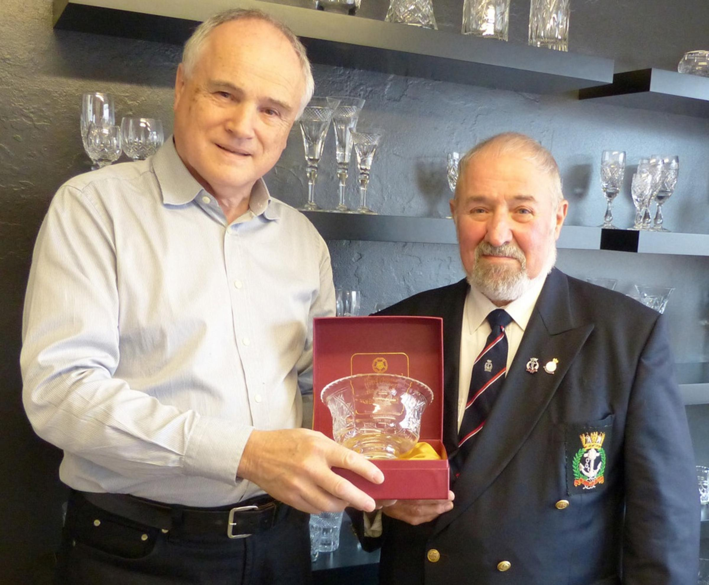 Keith Smith, sales manager at Tudor Crystal, with Ron Gould, vice-chairman of the Stourbridge branch of the Royal Naval Association.