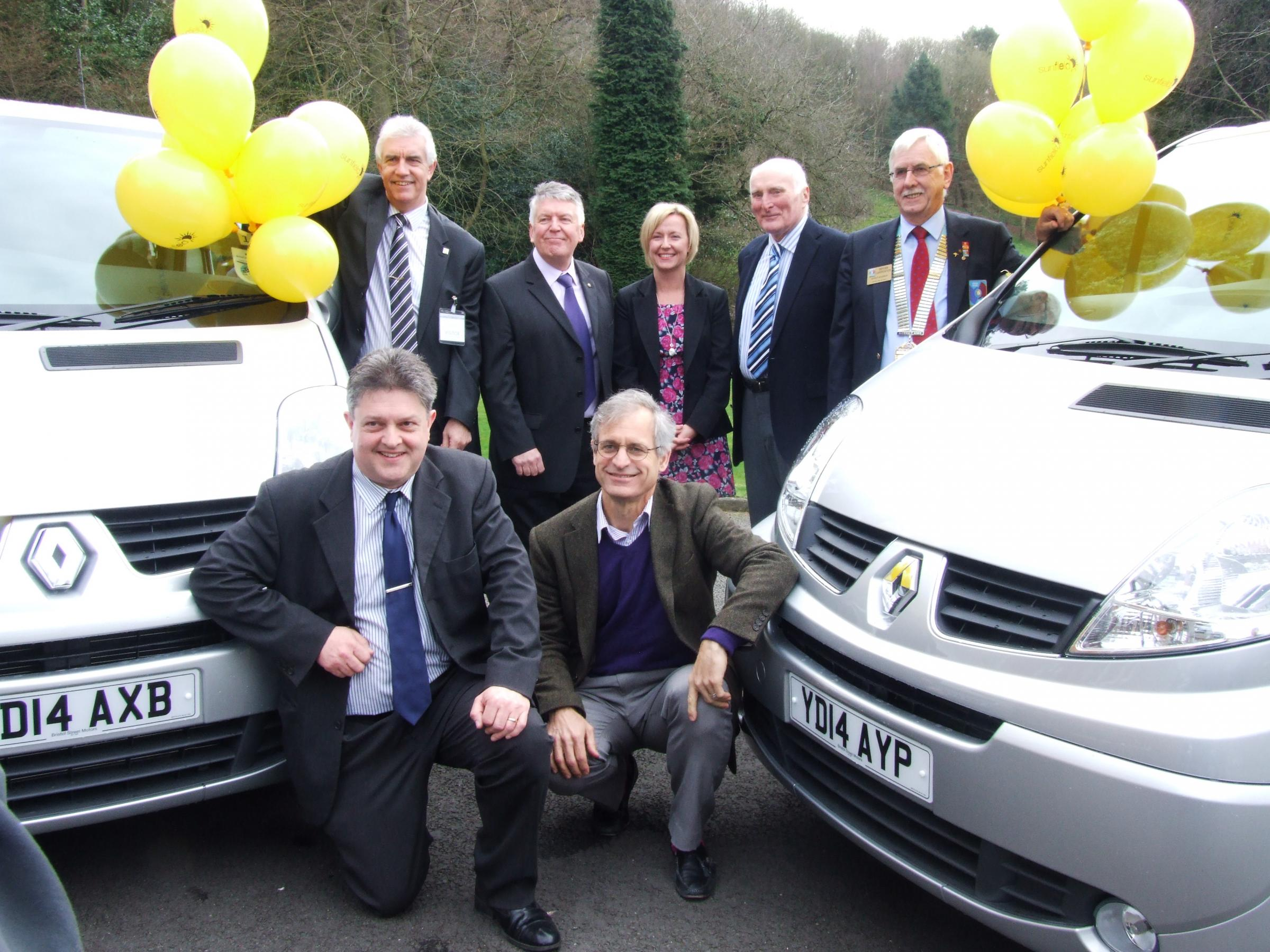 Front l-r - Sunfield's Ian Jones and CEO Michael Frosch; back l-r - Steven Jones (Halesowen & Rowley Regis Rotary), Alan Bowler (Rotary), Theresa Gregory (