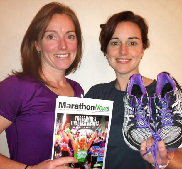 Helen Small, left, with sister Rebecca Carpenter, right, setting set for this year's London Marathon.