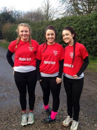 Before they took on the challenge l-r Rhiannon Cutler, Lucy Thomas and Katie Thomas.