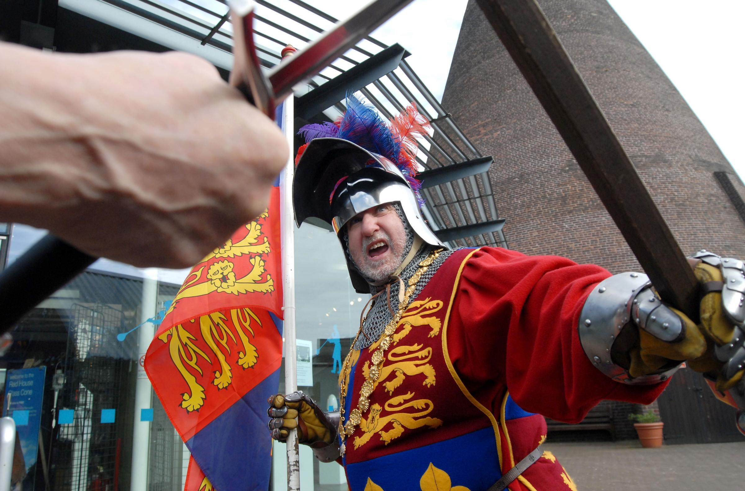 Alan Harvey of The Guild of Blessed St Edmunds gears up for a medieval weekend at the cone. Buy photo: 151435M