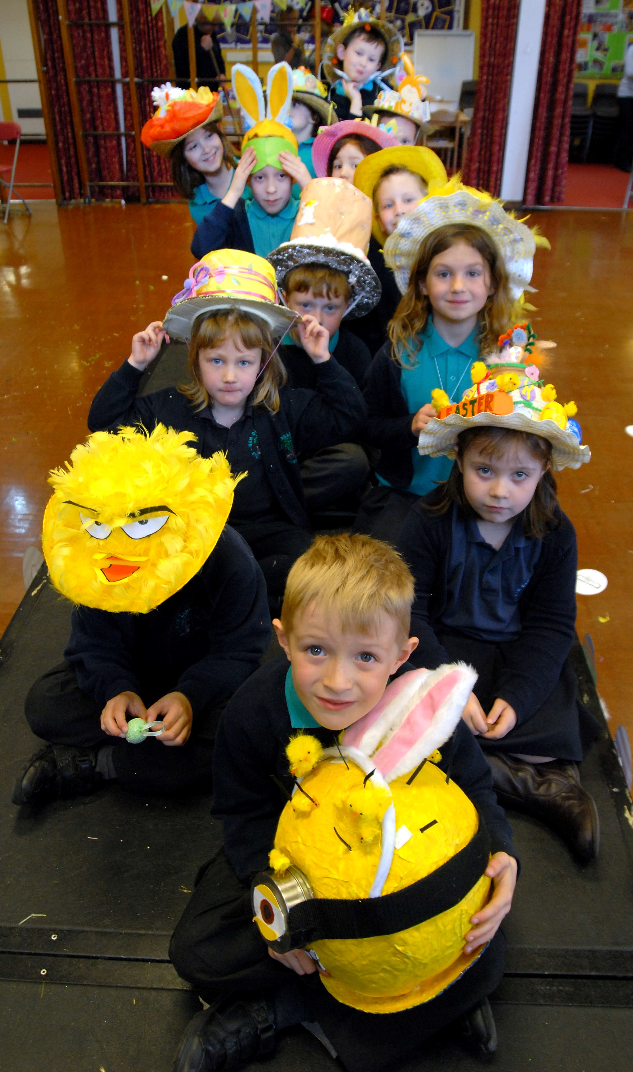 Easter bonnet parade at Ham Dingle Primary. Christopher Maxfield with others behind.