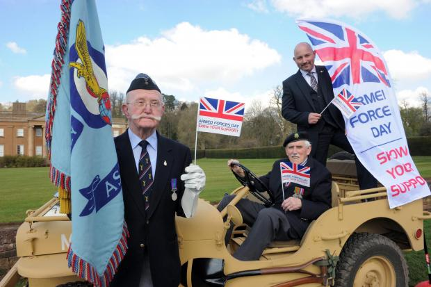 Left to right - veterans John Deane and Gordon Willetts with Paul Lewis, regional director at Forces Recruitment Services.